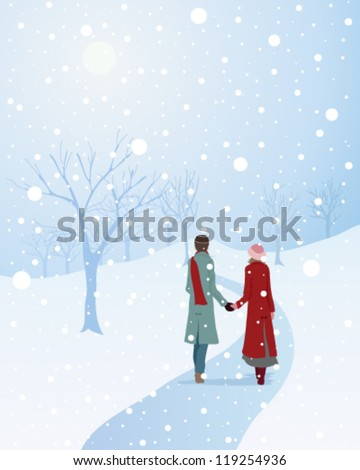 a vector illustration in eps 10 format of a winter scene with a warmly dressed couple walking through a snowy park holding hands - stock vector