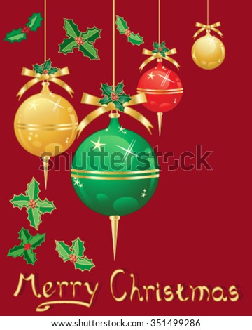 a vector illustration in eps 10 format of christmas decorations in metallic red gold and green with ribbon and holly on a dark red background - stock vector