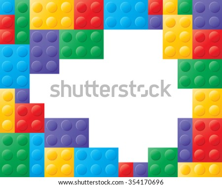 a vector illustration in eps 10 format of colorful building blocks in red yellow green blue and purple with white space in the center for text