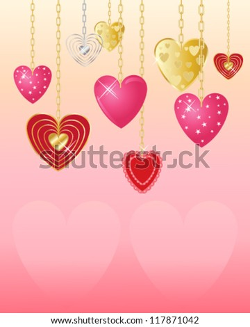 a vector illustration in eps 10 format of decorative valentine hearts on gold and silver chains with candy pink background and space for text