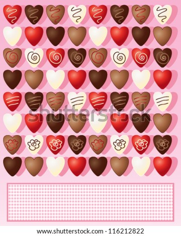 a vector illustration in eps 10 format of milk dark white and foil wrapped chocolate valentine hearts on a candy pink background with space for text - stock vector