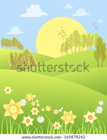 a vector illustration in eps 10 format of rural spring scenery with rolling hills daffodils daisies and trees with a big yellow sun