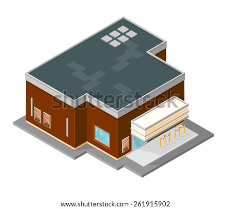 A vector illustration of a an isometric cinema. Cinema Building. Isometric Movie house.
