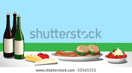 A vector illustration of a barbecue or picnic lunch laid out on the grass. Space for text - stock vector