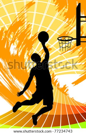 A vector illustration of a basketball player - stock vector