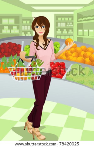 "A vector illustration of a beautiful woman shopping grocery at the supermarket.  Part of ""A Day In Life"" series - stock vector"