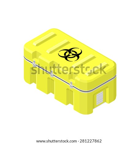 A vector illustration of a bio-hazard warning. Bio-hazard waste containment icon illustration. Case containing contaminants and waste. - stock vector