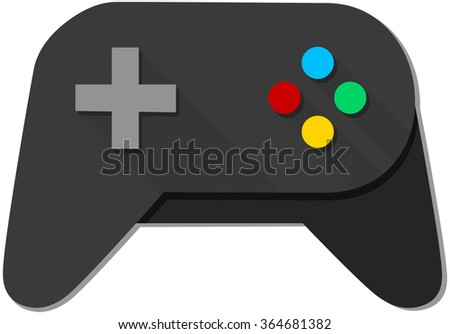 A vector illustration of a black joystick with colorful buttons.