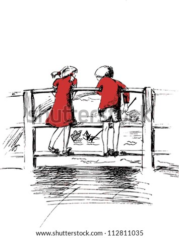 A vector illustration of a boy and a girl on the bridge