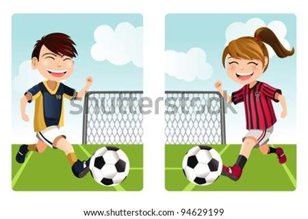A vector illustration of a boy and a girl playing soccer - stock vector
