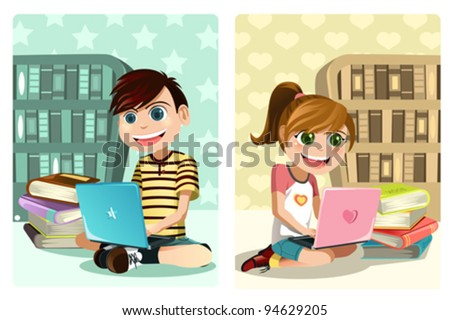 A vector illustration of a boy and a girl studying using laptop - stock vector
