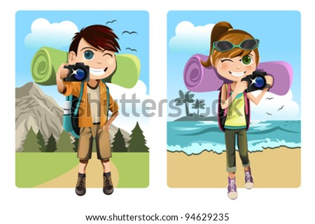 A vector illustration of a boy and a girl traveling and camping while taking pictures - stock vector