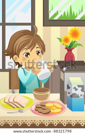 A vector illustration of a boy eating his breakfast at home - stock vector
