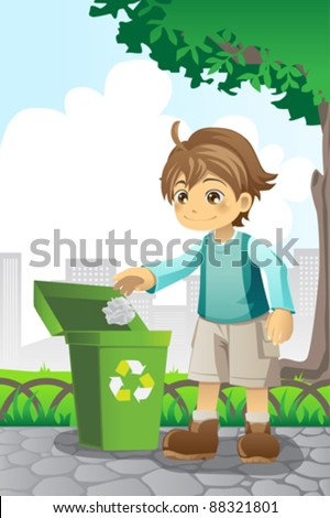 A vector illustration of a boy recycling a piece of paper - stock vector