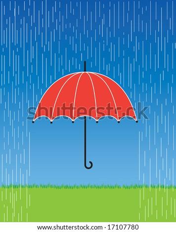 A vector illustration of a bright red umbrella in a fierce rain storm. - stock vector