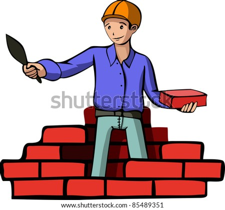 A vector illustration of a builder. All objects are separated, the can be scaled, edited or recolored for 5 minutes - stock vector