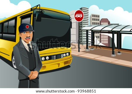 A vector illustration of a bus driver standing in front of the bus at a bus terminal