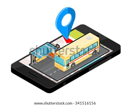 A vector illustration of a Bus station route locater. Icon illustration of an Isometric Bus Stop map on Mobile phone . Wireless device with locater navigation map app device. - stock vector