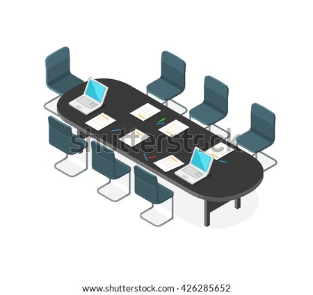 A vector illustration of a Business Meeting internet Icon. Isometric corporate meeting. Business meeting with table and chairs. - stock vector