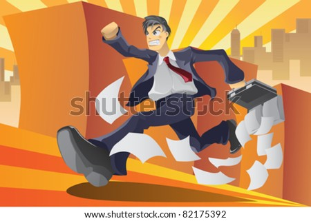A vector illustration of a businessman running in a hurry