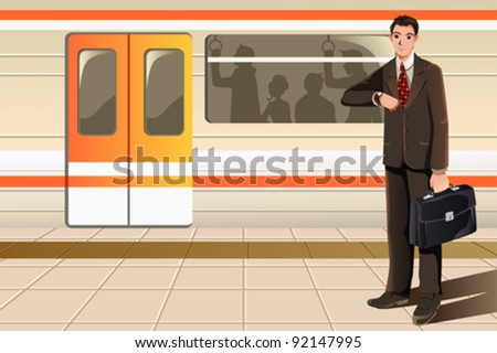 A vector illustration of a businessman waiting for subway - stock vector
