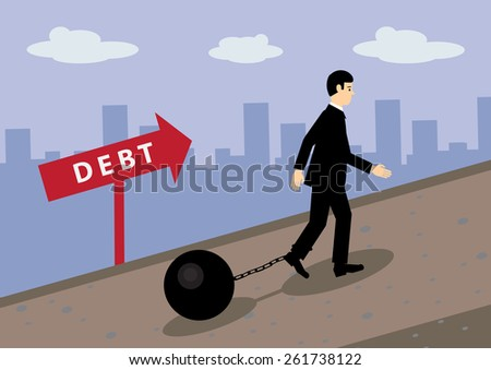 A vector illustration of a businessman walking up hill, with a ball and chain attached to his leg. A metaphor on financial debt. - stock vector