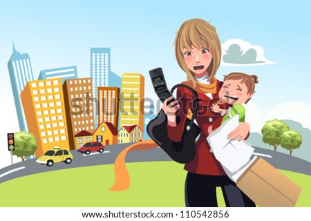 A vector illustration of a busy woman calling on the phone and carrying her crying baby - stock vector