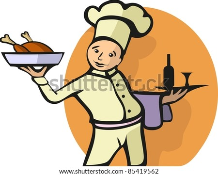 A vector illustration of a chef. All objects are separated, the can be scaled, edited or recolored for 5 minutes