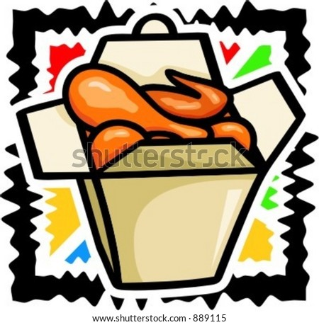 A vector illustration of a chicken legs in box. - stock vector