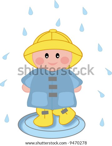 A vector illustration of a child in rain - stock vector