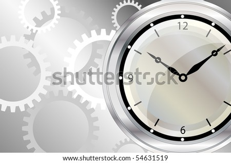 A vector illustration of a clock face with clockwork background. Space for text.