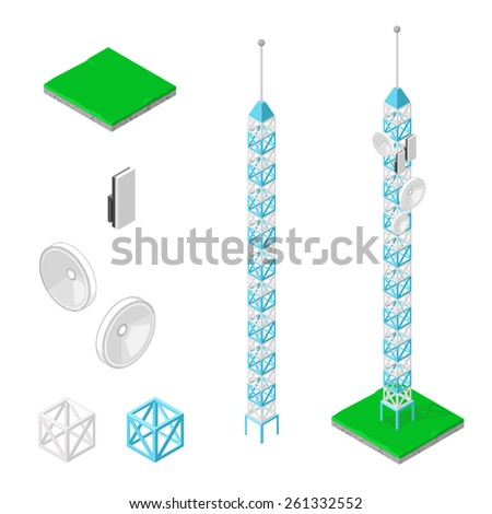 A vector illustration of a communications icon set. Mobile Communications icon set. Radio tower for wireless connections. - stock vector