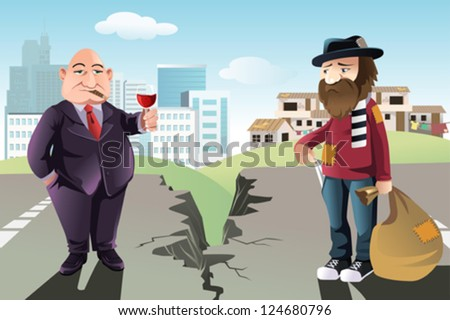 A vector illustration of a concept of the gap between the rich and the poor - stock vector