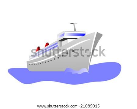 A vector illustration of a cruise ship - stock vector