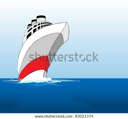 A vector illustration of a cruise ship at sea. EPS10 vector format - stock vector