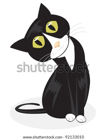 A vector illustration of a curious looking tuxedo cat sitting up and tilting his head on a white background. - stock vector