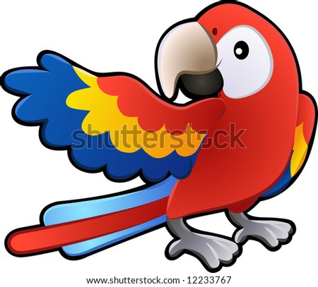 A vector illustration of a cute friendly Macaw Parrot - stock vector