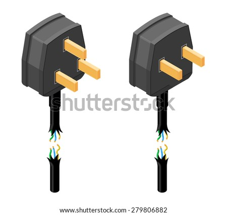 A vector illustration of a damaged electricity power cable with plug. Isometric Damaged Plug with visible electrical wires icon. Two plug icons that have a torn cable. - stock vector