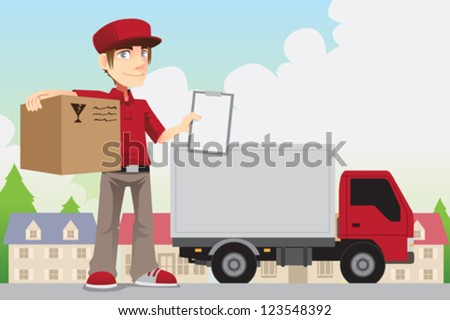 A vector illustration of a delivery person delivering a package - stock vector