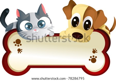 A vector illustration of a dog and a cat banner - stock vector