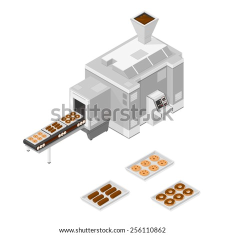 A vector illustration of a Factory cookie and cake machine. Isometric Confectionery production line. Confectionery machine. - stock vector