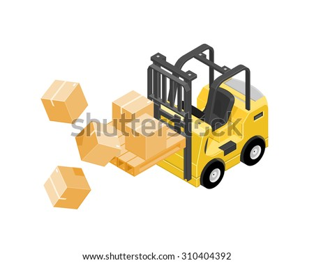 A vector illustration of a forklift truck carrying boxes that have fallen. Isometric Industrial accident concept icon illustration. Forklift truck dropping cardboard boxes. - stock vector