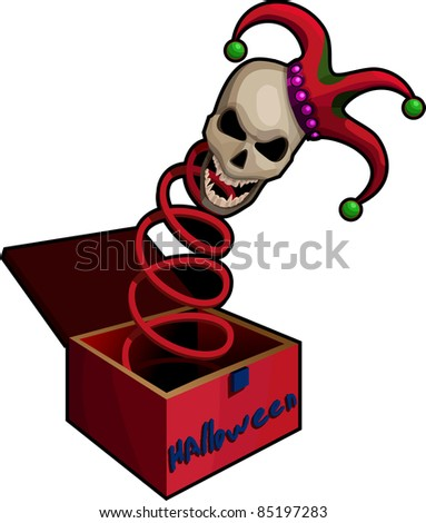 A vector illustration of a frightening  Jack-in-the-box. - stock vector