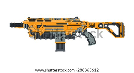A vector illustration of a futuristic large laser gun. Sci-Fi military issue machine laser gun. Hi-tech assault rifle. - stock vector