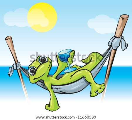 A vector illustration of a gecko in a hammock with a cold drink - a tropical scene good for tourism and vacation. - stock vector