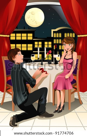 A vector illustration of a girl getting a marriage proposal from her boyfriend in a restaurant - stock vector