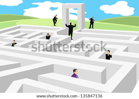 A vector illustration of a group of business people looking for a way out from labyrinth - stock vector