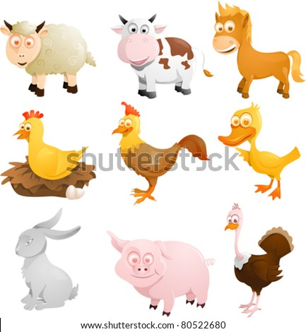 A vector illustration of a group of farm animals - stock vector