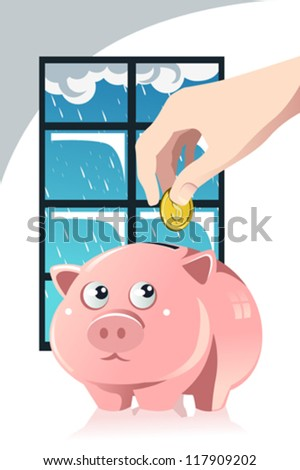 A vector illustration of a hand inserting a coin inside a piggy bank, a concept of saving for the rainy day - stock vector