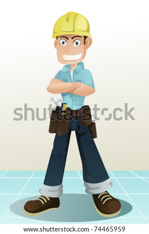 A vector illustration of a handyman with his tools - stock vector